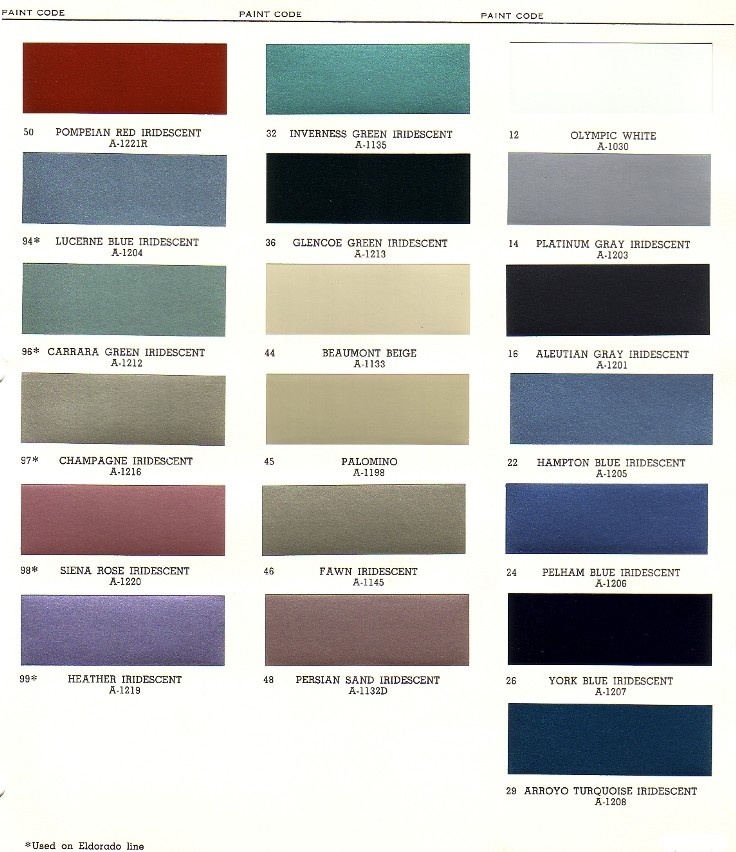 Cadillac paint chips for Paint color chips