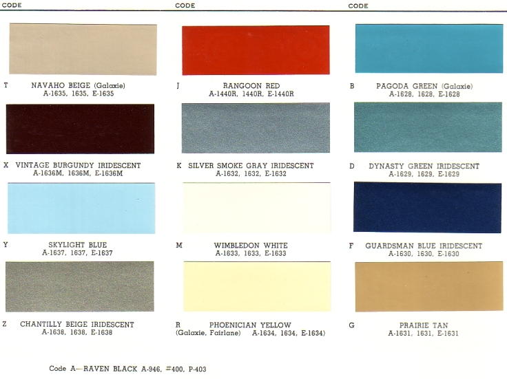 1964 Ford Exterior Paint Chip Palette