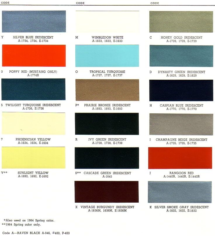 1965 Ford Exterior Paint Chip Palette