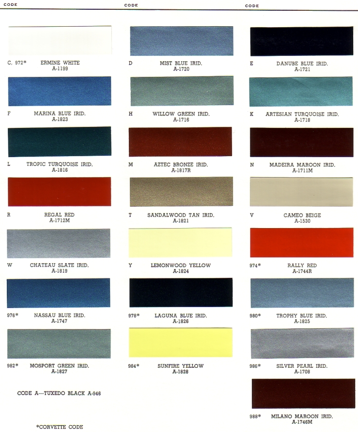 1966 Chevy Exterior Paint Chip Palette
