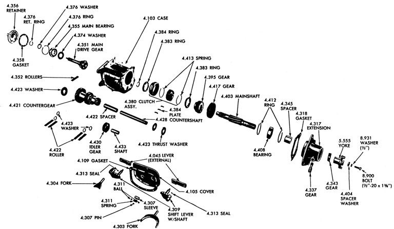 1962-63 Tempest 4 spd. Transmission Exploded View