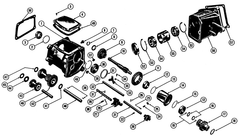1961-63 Tempest Manual Transmission Exploded View