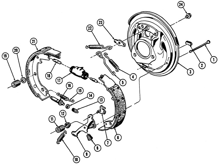1963-72 Pontiac Front Drum Brake Exploded View