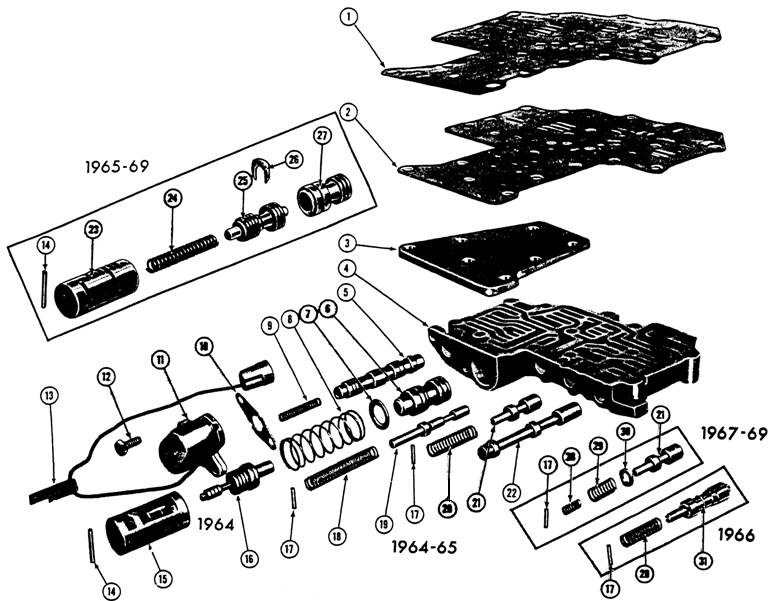 1967-68 Firebird 6 cyl. VALVE BODY Exploded View