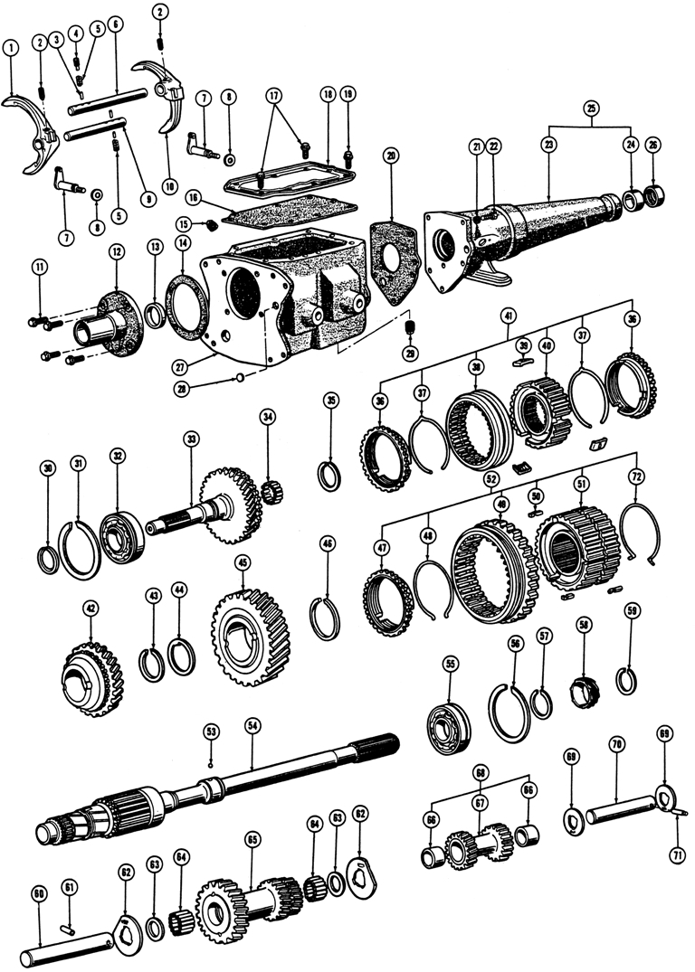 1968-69 FIREBIRD HD 3-SPD. MANUAL TRANSMISSION Exploded View