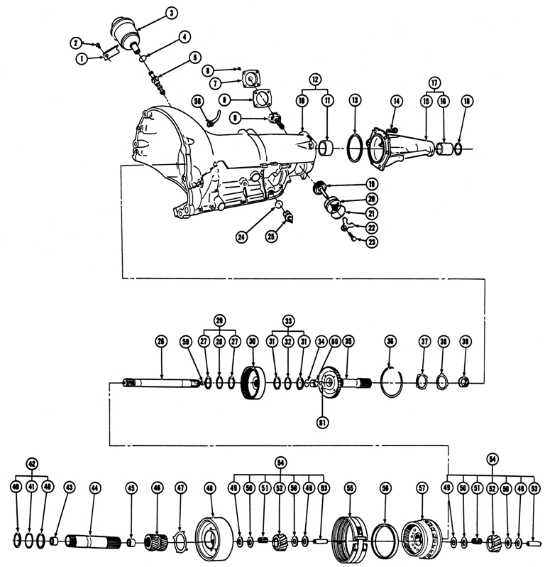 1965-72 Pontiac Turbo-Hydramatic Transmission (M-40) Exploded View
