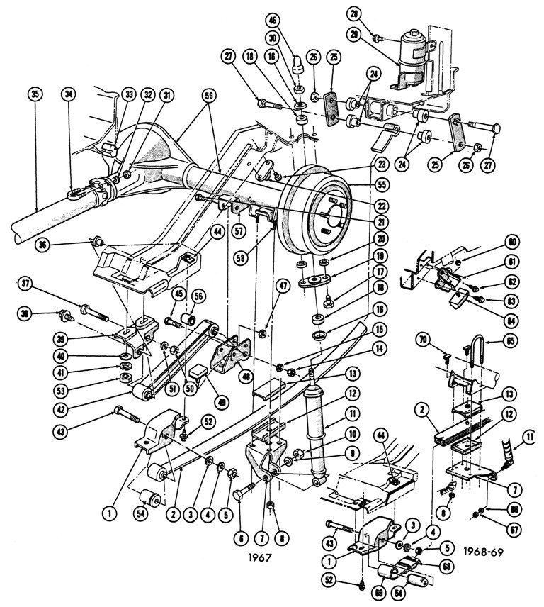 1967-69 Firebird Rear Suspension Exploded View