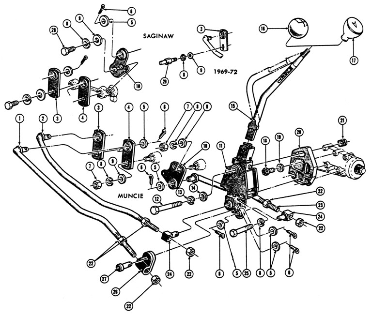 1967-72 Pontiac 4 spd. Floor Shift Control  Exploded View