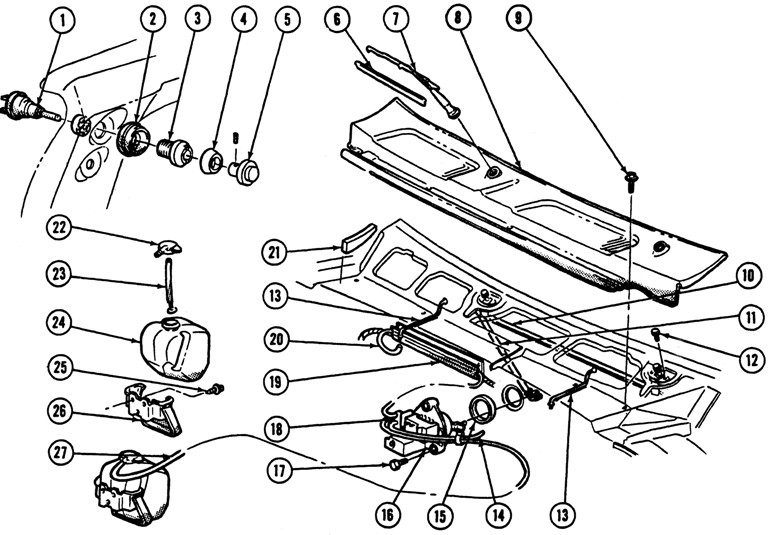 1967-68 Firebird Wiper & Washer Exploded View