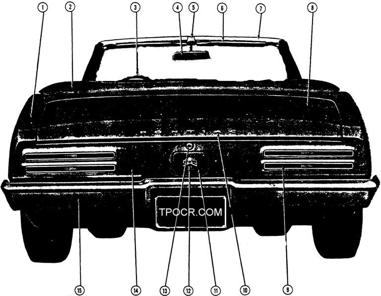 1967 Firebird Exterior Convertible Rear View Exploded View