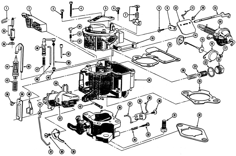 1968-72 6 Cyl. GM Mono Jet Carburetor Exploded View