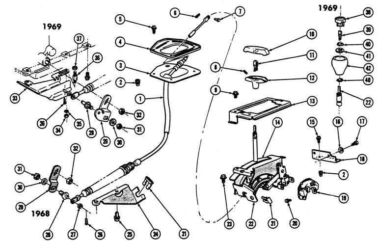 1968-69 Firebird A.T. & H.M.T. Console Shift Control Exploded View