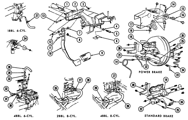1969 Firebird Brake System Exploded View