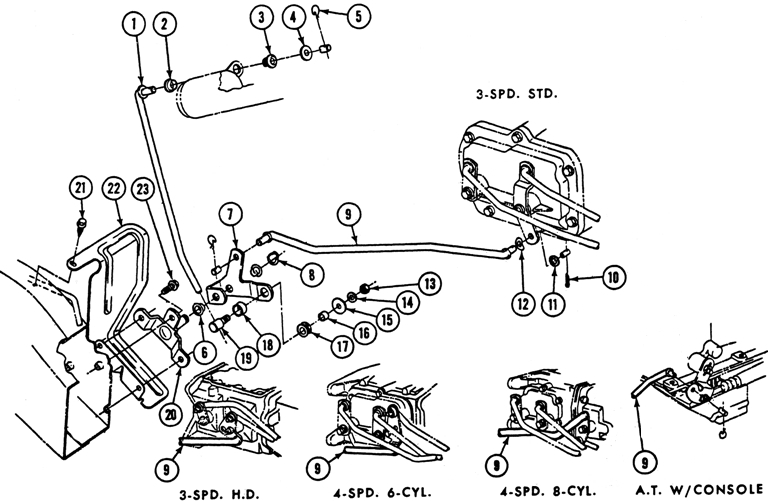 1969 Firebird Steering Column Lock Controls Exploded View