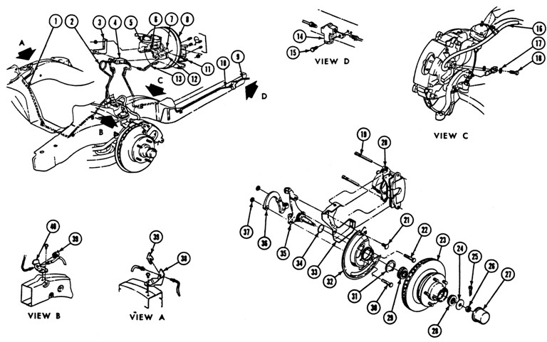 1969 Firebird Disc Brake System Exploded View