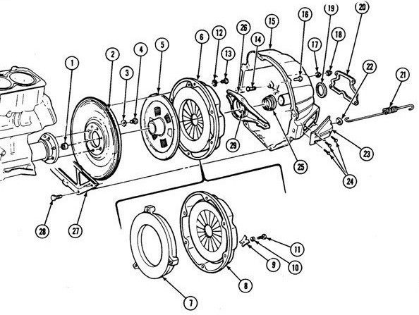 "1975 ""H"" Pontiac ClutchExploded View"