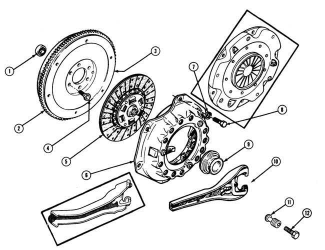 1967-70 Firebird Clutch/Flywheel Exploded View