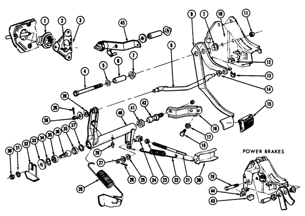 1967-70  Pontiac Clutch Linkage Exploded View