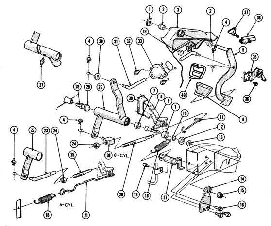 1967-69 Friebird Clutch Linkage Exploded View