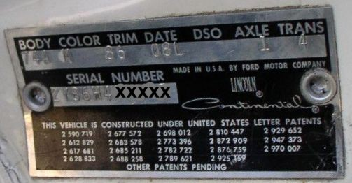 1962 Lincoln body plate