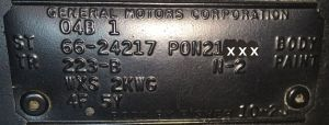 1966 Pontiac Body Data Plate