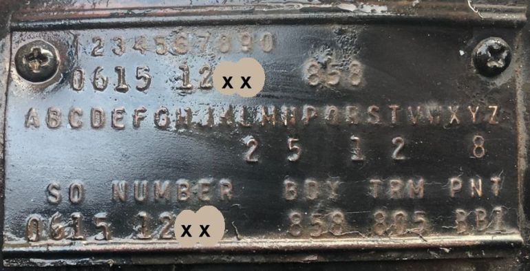 1961 Chrysler Body Data Plate