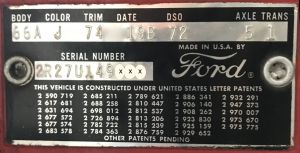 1962 Ford Body Data Plate