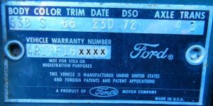 1963 ford body data plate