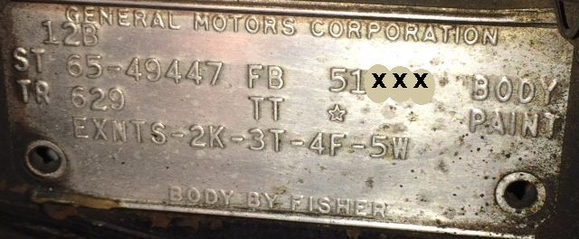 1965 Buick body Data Plate