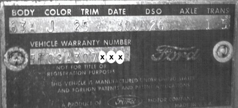 1965 Ford Body Data Plate
