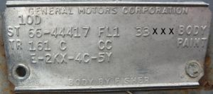 1966 Buick Body Plate