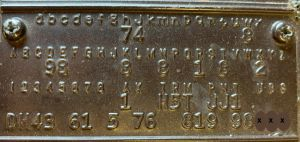 1967 dodge Body Data Plate