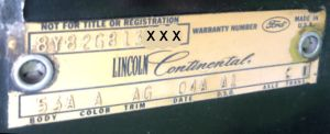 1968 Lincoln Body Data Plate