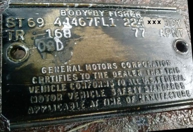 1969 buick body data plate