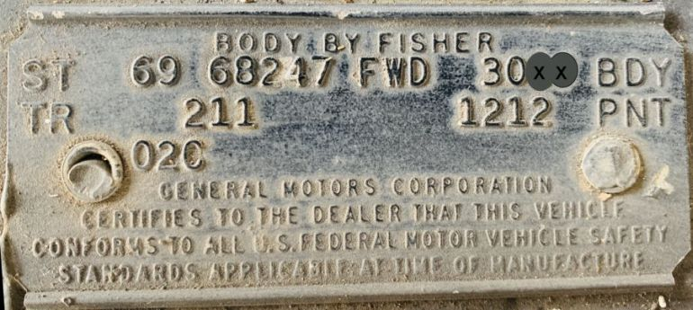 1969 Cadillac Body Data Plate