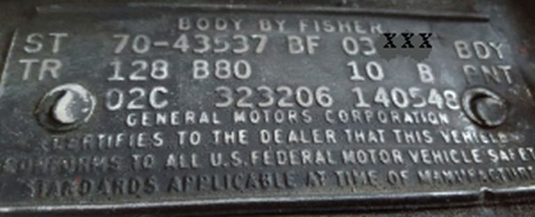 1970 Buick body data plate