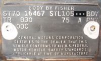 1970 chevy body data plate