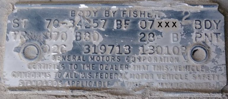 1970 Oldsmobile Body Data Plate