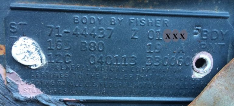 1971 Buick Body Data Plate