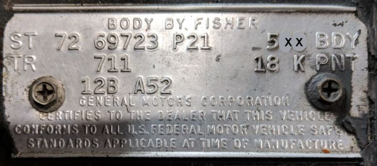 1972 Cadillac Body Data Plate