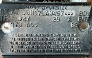 1974 Oldsmobile Body Data Plate