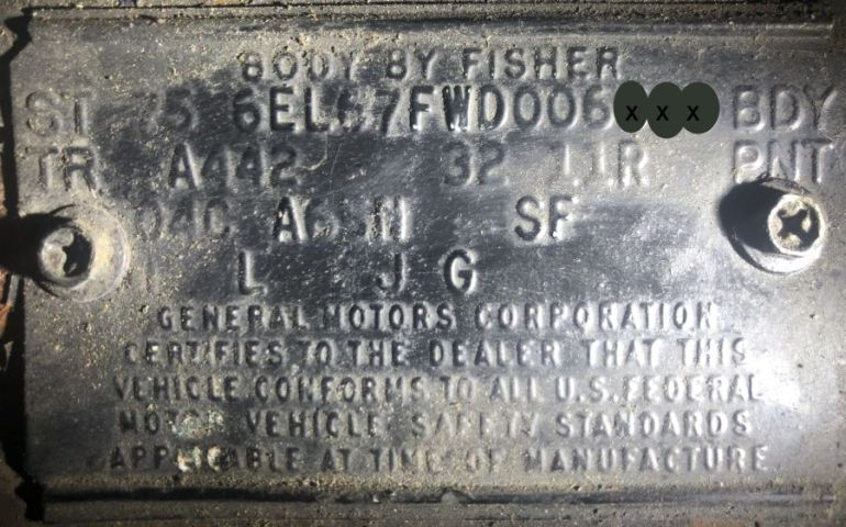 1975 Cadillac Body Data Plate