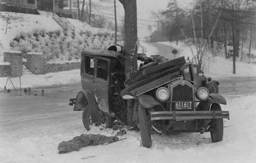 1934 maple tree and car