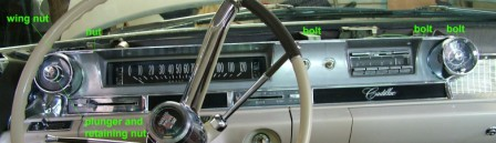 62 Cadillac  Dash  Mounting Screw Location
