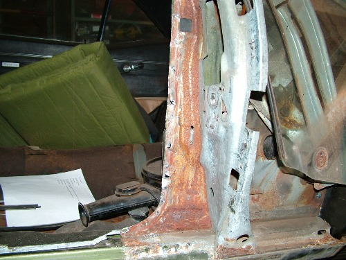 68 Firebird quarter panel removed door jam structure