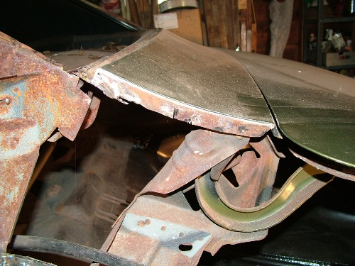 68 Firebird quarter panel removed rear deck joint