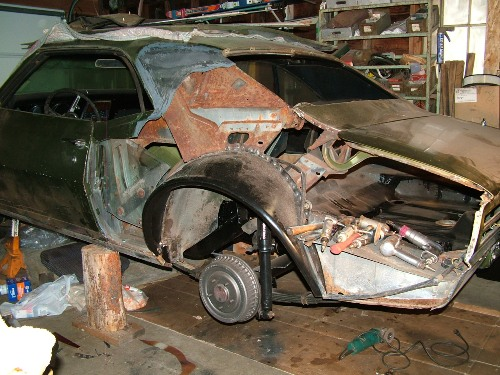 68 Firebird left quarter panel removed