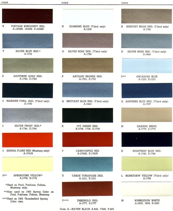 1966 Ford Exterior Paint Chip Palette