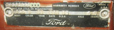 1967 Ford VIN Plate